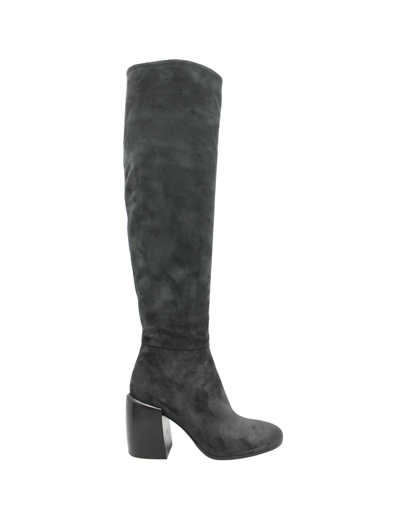Now Now Anthracite Suede High Heel  Boot 6018