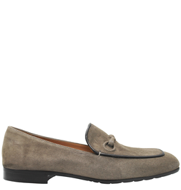 MaraBini Taupe Suede Loafer With Black Trim Detail 7406