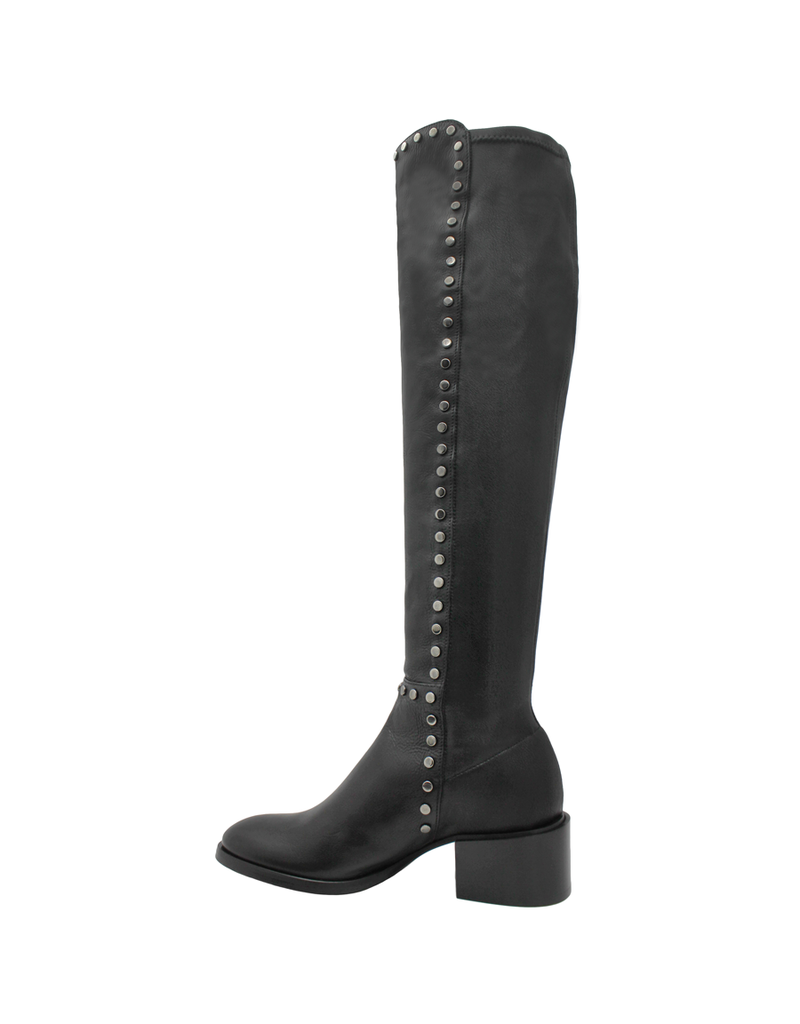 Now Now Black Nappa Over the Knee With Studs 6016