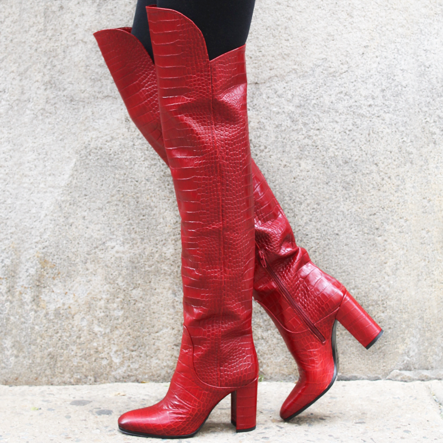 Strategia Red Croco Over The Knee Boot