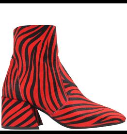 Elena Iachi ElenaIachi Red Black Zebra Hair Calf Square Toe Side Zip 1955