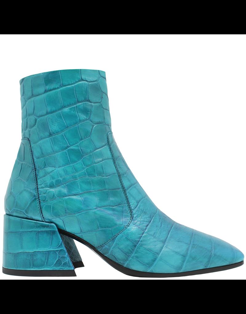 Elena Iachi ElenaIachi Turquoise Croco Square Toe Ankle Boot With Side Zipper 1945