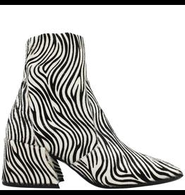 Elena Iachi ElenaIachi White Black Zebra Hair Calf Square Toe Side Zip 1955