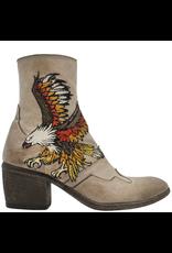 FauzianJeunesse FauzianJeunesse Taupe Ankle Boot With Embroidered Eagle 3483