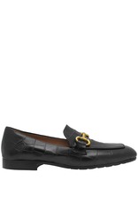 MaraBini MaraBini Black Croco Stamp Loafer With Gold Bit 7412