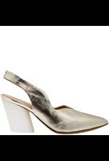 Halmanera Halmanera Shiny Gold Sling Back With White Contrast Heel 2007