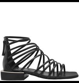 VicMatie VicMatie Black Strappy Flat Sandal With Back Zipper 8722