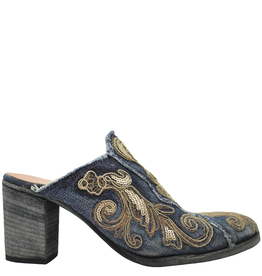 FauzianJeunesse FauzianJuenesse Blue Denim Mule With Gold Embroidery 3583