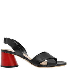Halmanera Halmanera Black Criss Cross Sandal Red Heel 2015