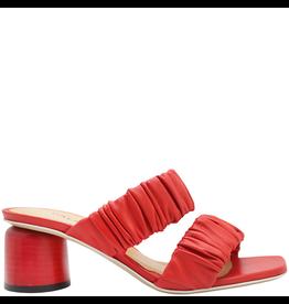 Halmanera Halmanera Red Ruched Double Strap Sandal 2018