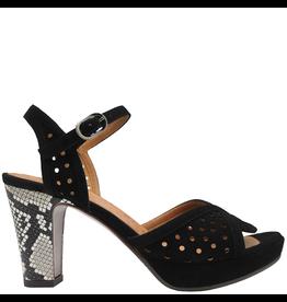 ChieMihara ChieMihara Black Laser Buckled Sandal With Snake Heel Elisea