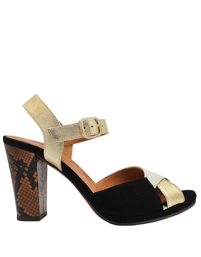 ChieMihara ChieMihara Black Suede Leche And Platinum Buckled Sandal Abra