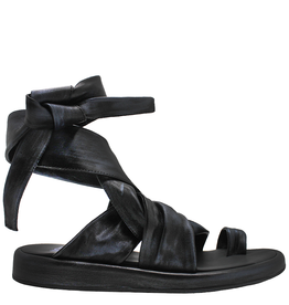 Now Now Black Nappa Toe Ring Sandal With Ankle Strap Emre