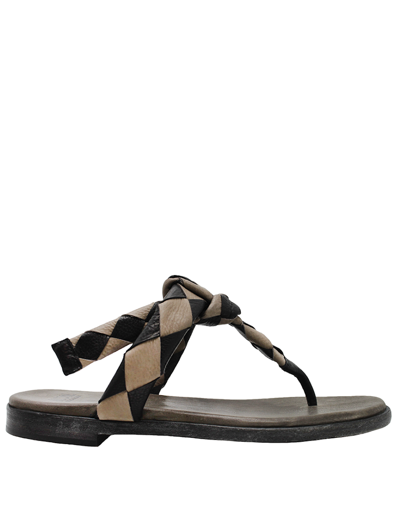 Now Now Black Taupe Woven Thong Mule Reta