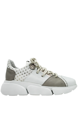 Ixos Ixos White Taupe Metal Lace Up Sneaker 2002