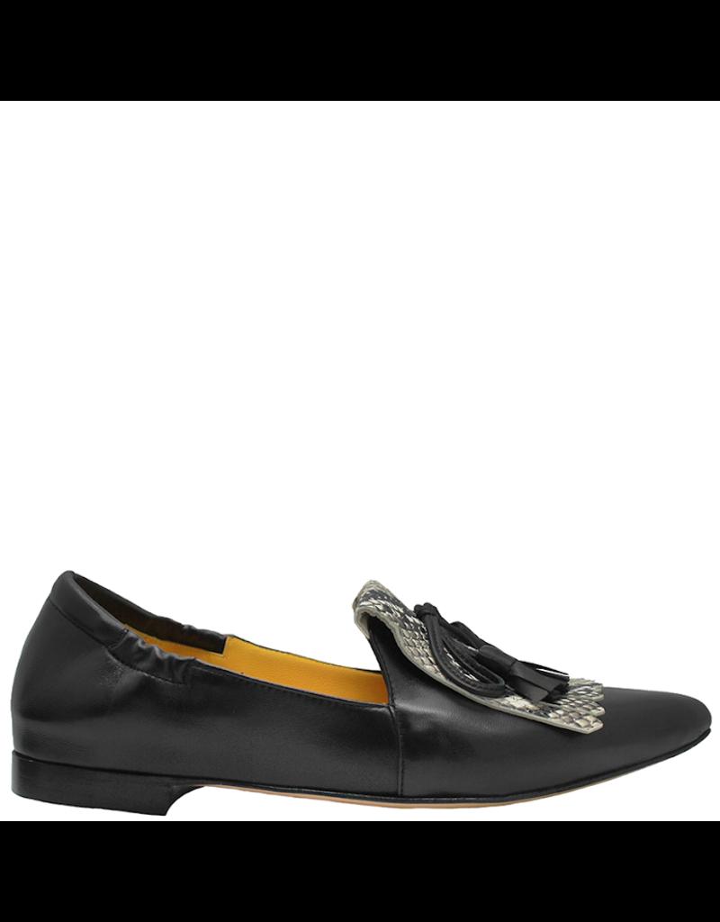 MaraBini MaraBini Black Nappa Loafer With Python Kiltie  7417