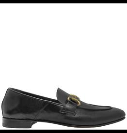 MaraBini MaraBini Black Nappa Flex-Sole Loafer With Gold Bit 7424