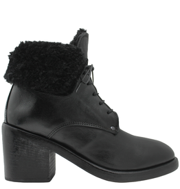 Moma Moma Black Lace-Up With Black Shearling Ankle Boot 9083