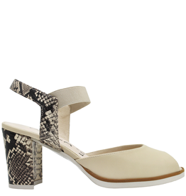 Gadea Gadea Pebble With Snake Print Peep Toe Sandal 1076