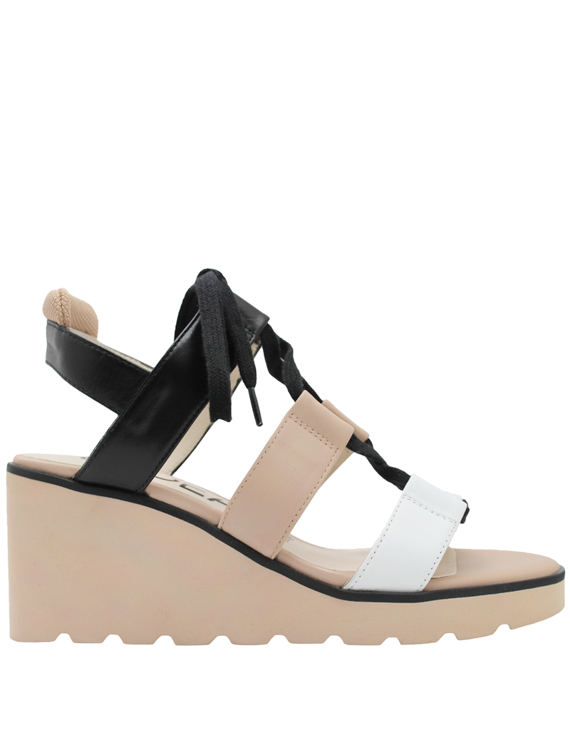 Gadea Gadea White Natural Black Lace-Up White Wedge Sandal 1087