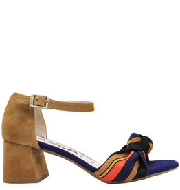 Gadea Gadea Camel With Multi Navy Print Buckled Sandal 1092