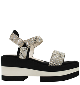 Gadea Gadea Silver Mosaic Velcro Closure On Black White Platform 1103