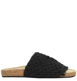 Strategia Strategia Black Macrame Slide With Cork Bottom 4546