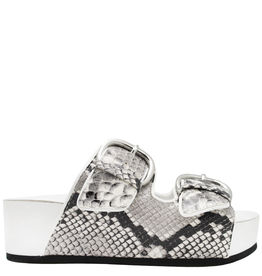 Strategia Strategia White Black Snake Print Double Buckle Wedge 4542