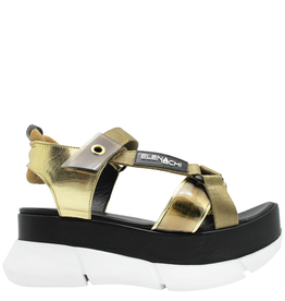 Elena Iachi ElenaIachi Gold Sneaker Bottom Sandal with Velcro Closure 2446