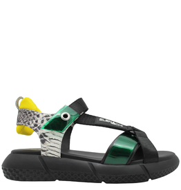 Elena Iachi ElenaIachi Green With Snake Sandal Black Rubber Bottom 2447