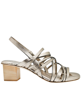 Del Carlo DelCarlo Gold Strappy Block Heel Sandals 1099