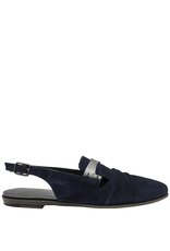 Pantanetti Pantanetti Navy Suede Sling Flat Loafers 1224