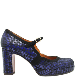 ChieMihara ChieMihara Blue Nappa Buckled Pump With Black Suede Trim Joly