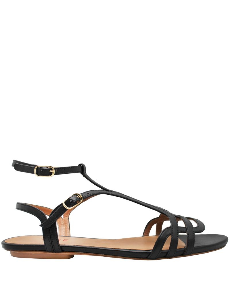 ChieMihara ChieMihara Black Nappa Double Buckle Art Deco Sandal Yael