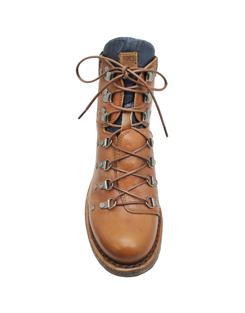 Moma Moma Camel Hiker Boot With Blue Textile  9085