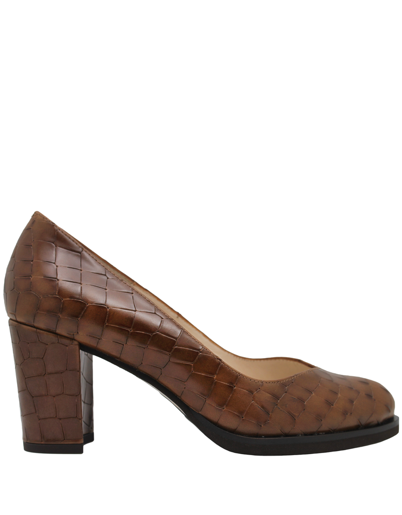 Gadea Gadea Brown Croco V Pump 5182