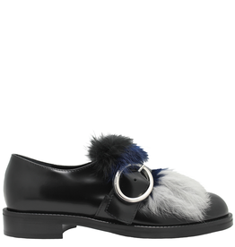 Siton Siton Black Buckled Loafer With Blue Grey Fur 9150