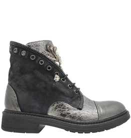 Now Now Blue With Pearl Medallion Ankle Boot 5703