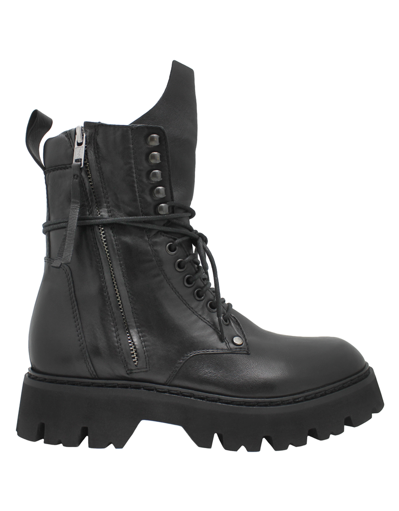 Now Now Black Nappa 2 Zipper Lace-Up Boot Tread Sole 6529