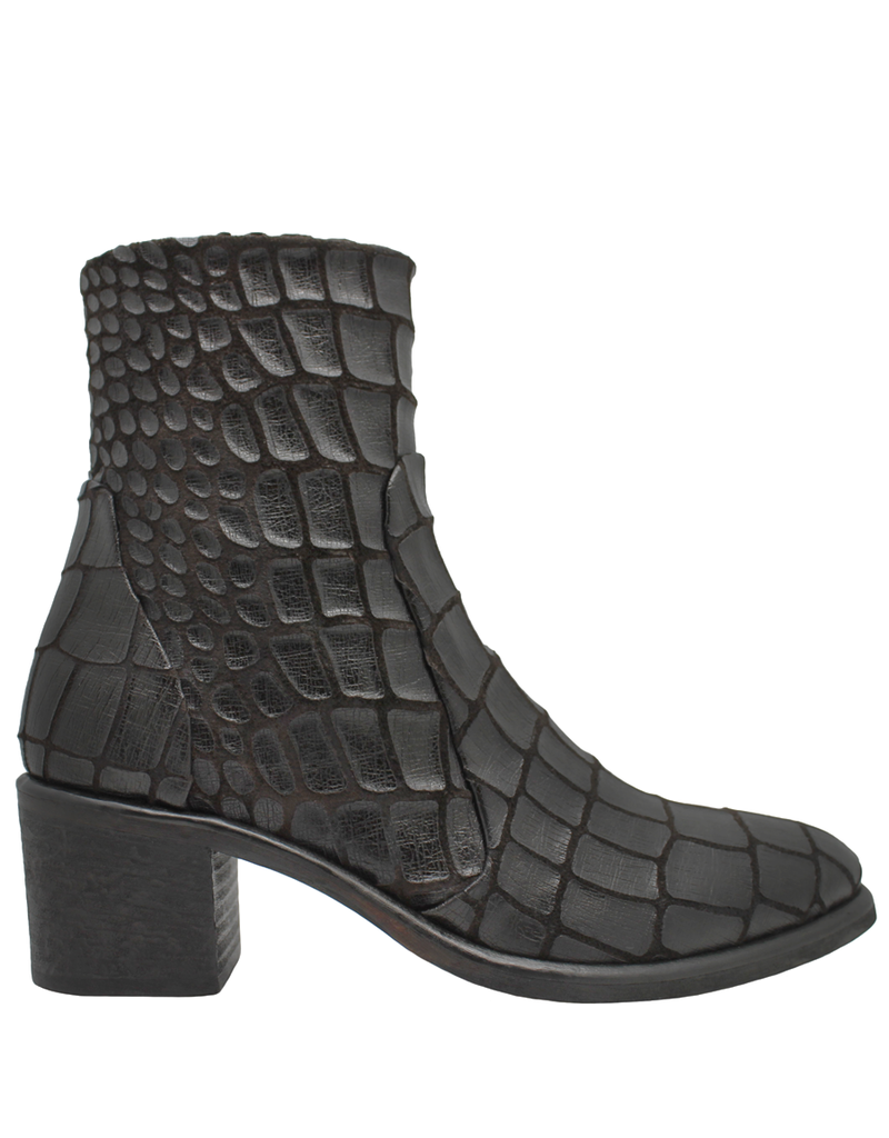 Strategia Strategia Brown Gator Ankle Boot With Side Zipper 3913