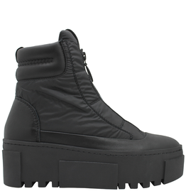 VicMatie VicMatie Black Nylon Top Zipper Boot With Wedge Sole 7777
