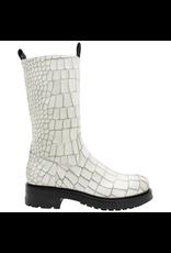 Elena Iachi ElenaIachi White Gator Mid-Calf With Side Zipper 2561