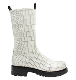 Elena Iachi ElenaIachi White Gator Mid-Calf With Side Zipper 2561