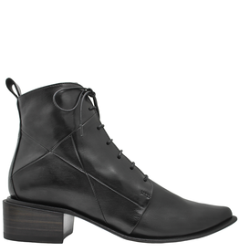 Ink Ink Black Ankle Boot With Laces And Side Zip 3320