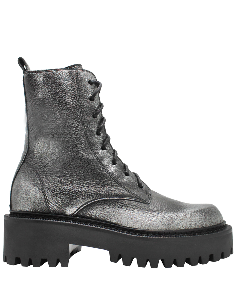 VicMatie VicMatie Silver Grain Leather Combat Boot With Laces 5154