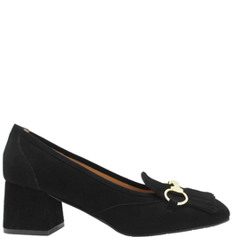 ModadiFausto ModadiFausto Black Suede Loafer With Gold Bit 6141
