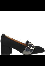 ModadiFausto ModadiFausto BlackSuede Medium Heel Loafer W/ Round Buckle 6354