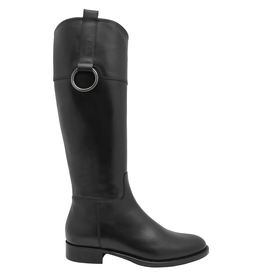 Eclat Eclat Black Riding Boot With Ring Detail +Full Inside Zipper 7603