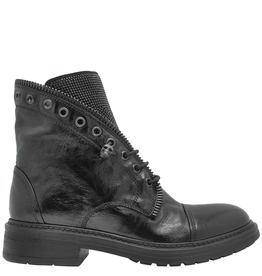 Now Now Black Ankle Boot With Crystal And Suede 6475