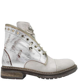 Now Now Off White Ankle Boot With Jewel Detail 6003
